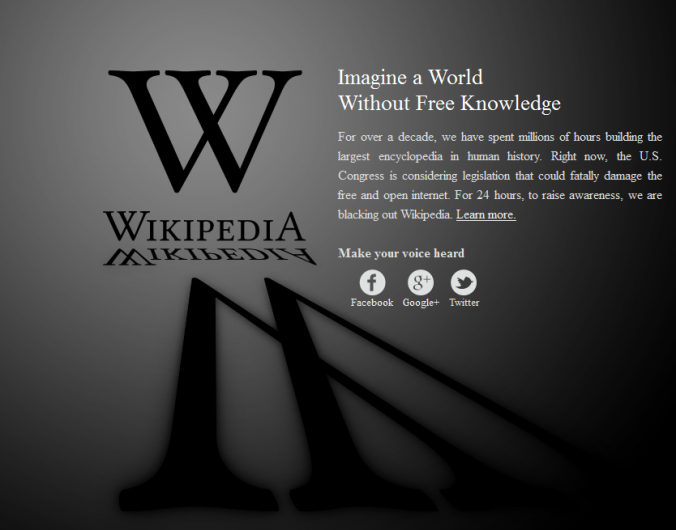 Tampilan Wikipedia saat Blackout (18-01-2012:05.00 UTC)