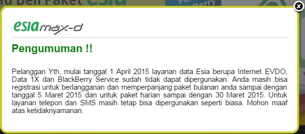 Pengumuman penutupan layanan data di situs Esia